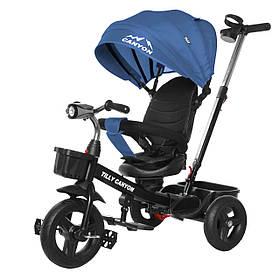Велосипед трехколесный TILLY CANYON T-384 Синий | Велосипед с родительской ручкой Тилли подстаканник, свет