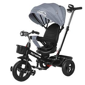 Велосипед трехколесный TILLY CANYON T-384 Серый | Велосипед с родительской ручкой Тилли подстаканник, свет