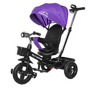 Велосипед трехколесный TILLY CANYON T-384 Фиолетовы | Велосипед с родительской ручкой Тилли подстаканник, свет