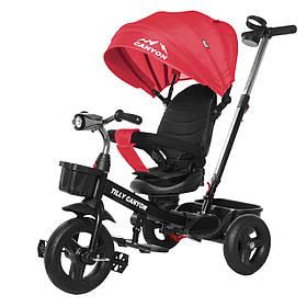 Велосипед трехколесный TILLY CANYON T-384 Красный | Велосипед с родительской ручкой Тилли подстаканник, свет