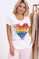 Модная футболка с принтом 632 (48–62р) в расцветках, фото 1