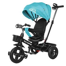Велосипед трехколесный TILLY CANYON T-384 Голубой | Велосипед с родительской ручкой Тилли подстаканник, свет