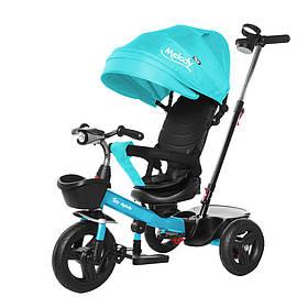 Велосипед трехколесный TILLY Melody T-385 Бирюзовый | Велосипед с родительской ручкой Тилли подстаканник, свет