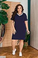 Однотонное прямое платье Размер: 52, 54, 56, 58 Арт: 132