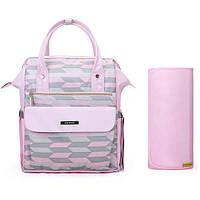 Многофункциональная сумка-рюкзак для мамы и малыша Мommore с пеленальным ковриком Розовая (0090211A012)