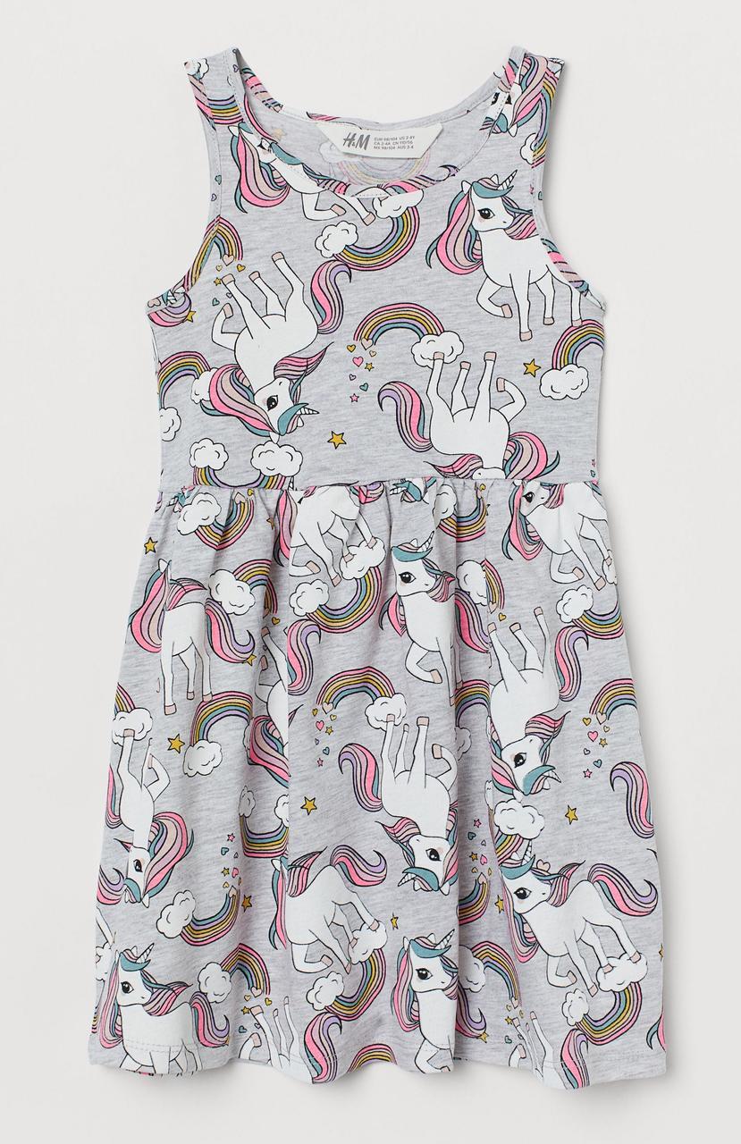 Летнее платье на девочку с единорогом H&M Швеция Размер 110-116