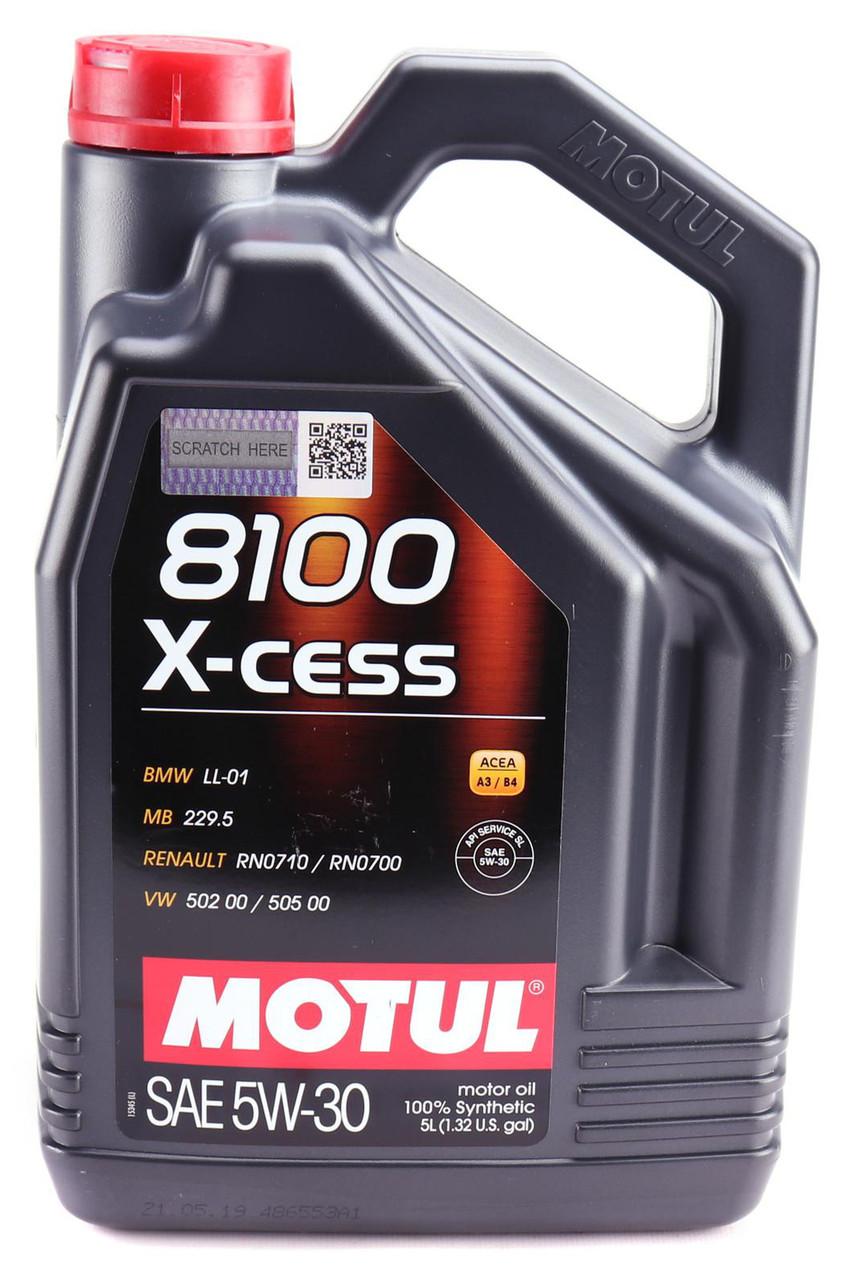 Моторное масло MOTUL 8100 X-CESS 5W30 (5л) API SL, ACEA А3/В4