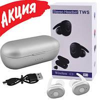 Беспроводные вакуумные наушники TWS DT-1, Bluetooth гарнитура с микрофоном для смартфона и спорта, Серые