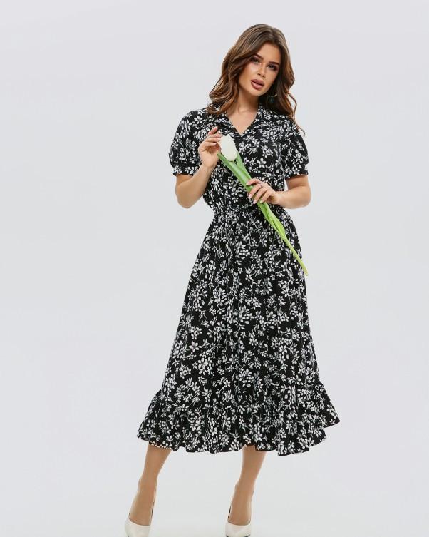Черное приталенное платье с воланом XL, Черный
