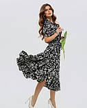 Черное приталенное платье с воланом XL, Черный, фото 2