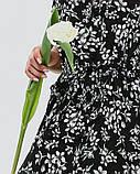 Черное приталенное платье с воланом XL, Черный, фото 4