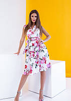 Цветочное летнее платье без рукавов с кроем на запах M S