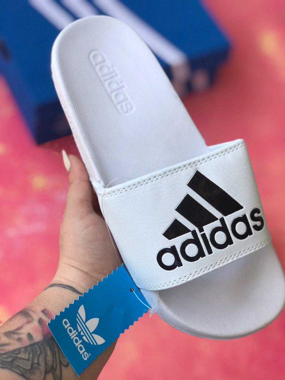 Сланцы/шлепки Adidas (белые)/шлепанцы/Adidas/ адидас/
