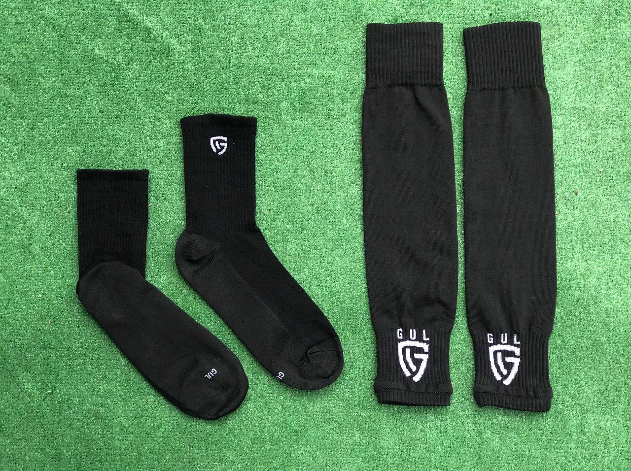 Гетры футбольные без носка + носки GUL(черные)/комплект/обрезки/для футбола