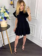 Стильное летние приталенное платье с расклешенной юбкой черного цвета