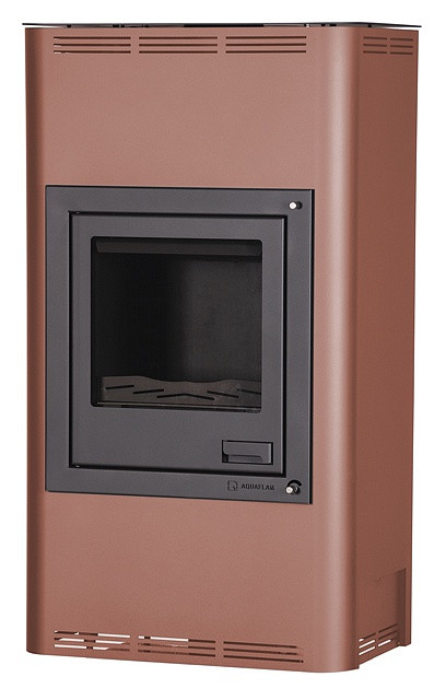 Отопительная печь-камин длительного горения AQUAFLAM 17 (водяной контур, ручная рег, бронза)