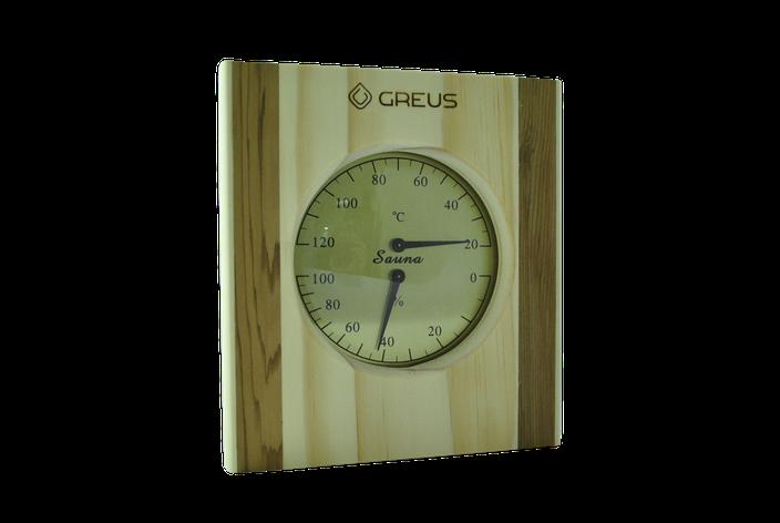 Термогигрометр Greus сосна/кедр 16х14,5 для бани и сауны, фото 2