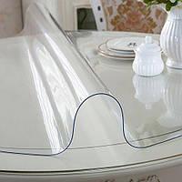 Мягкое стекло Прозрачная силиконовая скатерть на стол Soft Glass Защита для мебели 1.4х1.0 м (тощина 1.5мм)