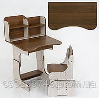 Парта школьная регулируемая для дома ЛДСП ПШ 012 со стулом и с пеналом