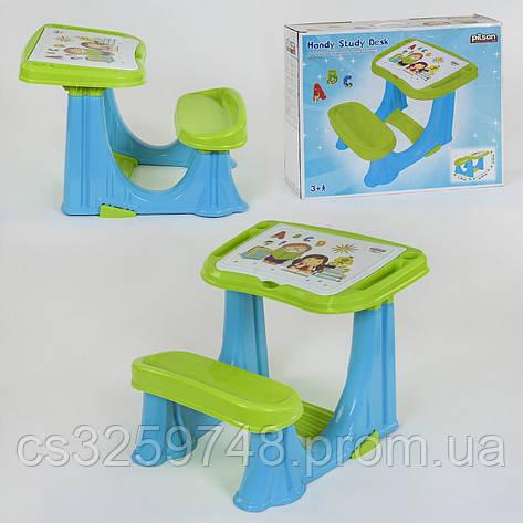 Парта учебная для дошкольников 03-433 с откидной крышкой и отсеком с органайзером, цвет сине-зеленый, фото 2