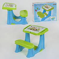Парта учебная для дошкольников 03-433 с откидной крышкой и отсеком с органайзером, цвет сине-зеленый