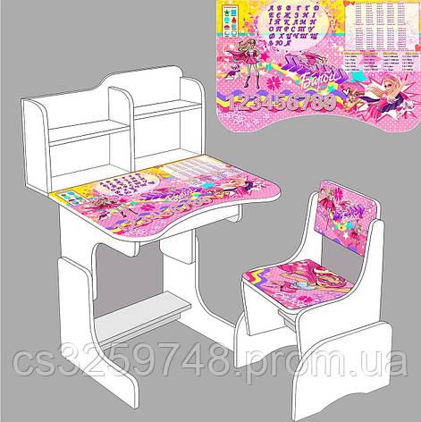 """Парта школьная """"Супер барби"""" ЛДСП ПШ 008 (69*45 см), цвет белый + 1 стул, фото 2"""