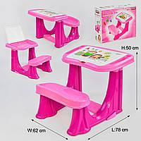 Парта цельная учебная 03-433 с откидной крышкой, цвет розовый, отсек с органайзером