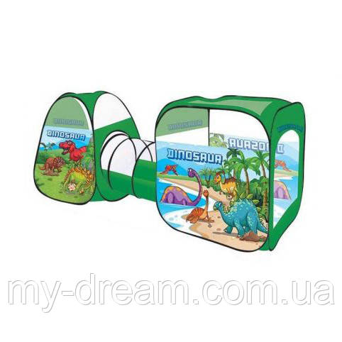 Дитячий намет з тунелем 8015 KL Динозаври (92×240×92 см), зелена