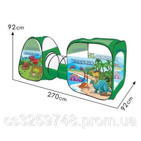 Дитячий намет з тунелем 8015 KL Динозаври (92×240×92 см), зелена, фото 2