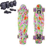 Пени Борд с светящимися колесами для девочек. Скейт голубой Penny Board + Подарок