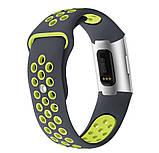 Силиконовый ремешок с перфорацией для фитнес браслета Fitbit Charge 3 / 4 - Grey&Lime, фото 2
