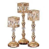 """Шикарные настольные подсвечники """"Куб""""  31 см, 38 см, 45 см. комплект 3 шт."""