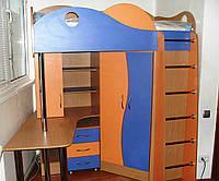 Изготовление дизайнерской детской мебели на заказ - двухъярусная кровать встроенный шкаф полки стол. Одесса