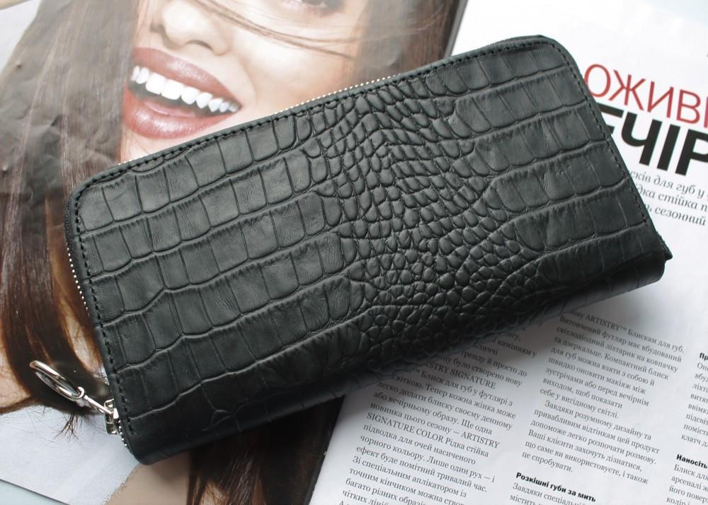 Женский кожаный кошелек с тиснением под крокодила,натуральная кожа