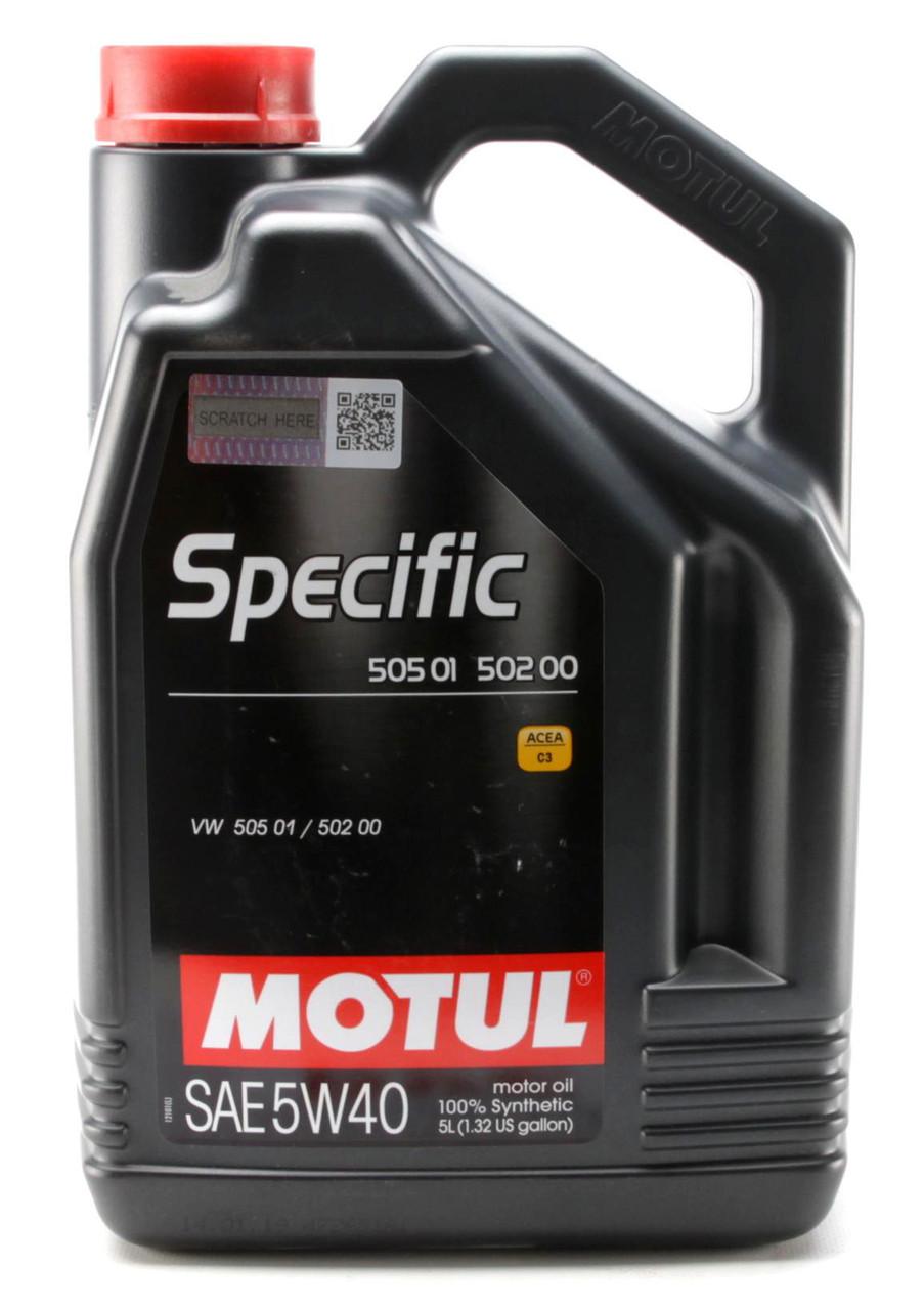 Моторное масло MOTUL SPECIFIC 505.01 502.00 5W40 (5л) для двигателей VOLKSWAGEN. ACEA A3/B4/С3