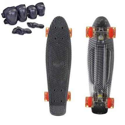 Пени Борд с светящимися колесами карбоновый. Скейт голубой Penny Board + Подарок, фото 2