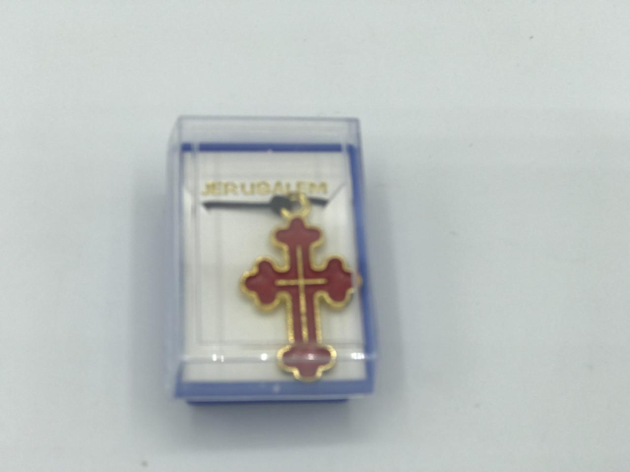 Крестик с красной эмалью