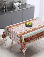 Скатерть рогожка на раскладной стол Вилена размер 220х150 Гуцульский мотив