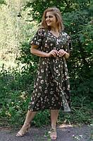 Красивое летнее платье больших размеров Илона с цветочным принтом