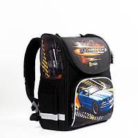 Ортопедический каркасный рюкзак для мальчика 'Машинка': 1-4 класс, черный, 10 л