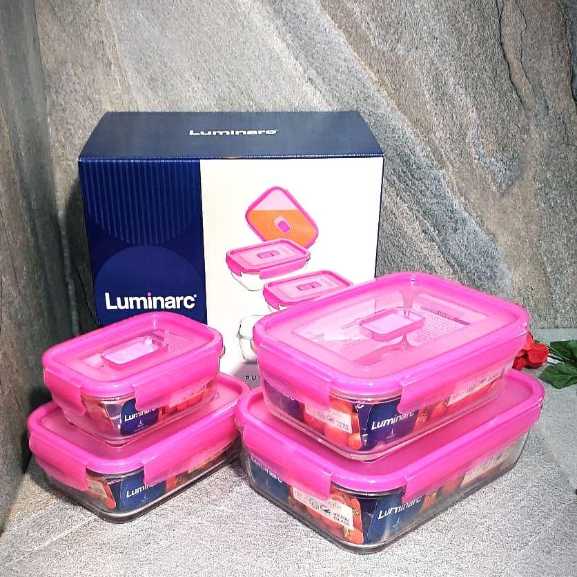 Набор прямоугольных контейнеров Luminarc Pure Box Active с розовыми крышками 4 шт (N0341)