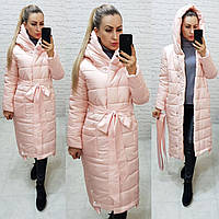 М032 Теплое зимнее пальто, пудра, ткань плащевка