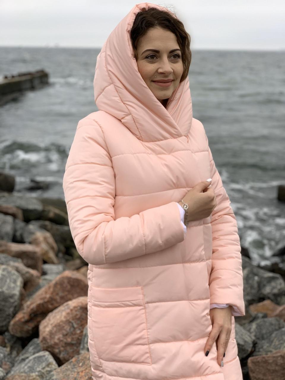 М032 Теплое зимнее пальто,пудра, ткань плащевка