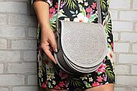 """Кожаная женская сумка, серая сумка ручной работы """"Аркан"""", сумка через плечо, фото 1"""