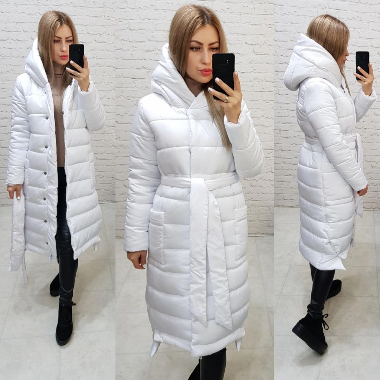 Теплое зимнее пальто белоснежное М032