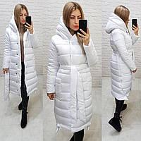 М032 Теплое зимнее пальто белоснежное
