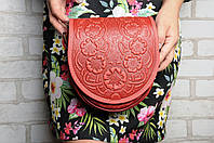 """Кожаная красная женская сумка, сумка ручной работы """"Маки"""", сумка через плечо"""