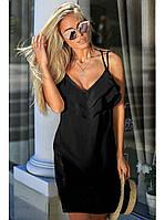 Летний женский многослойный сарафан на бретелях свободного силуэта XL, Черный