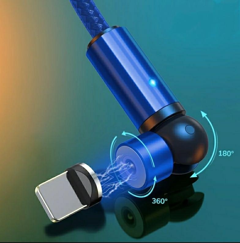 TOPK AM68 540° Магнитный кабель Micro USB 2 метра синего цвета