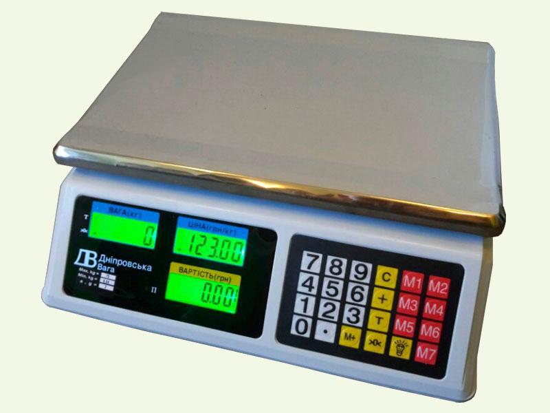 Весы торговые электронные без стойки ВТЕ-Центровес 15Т1ДВ-Е